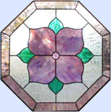 Mauve octagon Leaded Stained Glass window