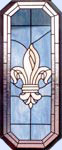 stained and leaded glass octagonal Fleur de Lis window