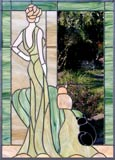 Lady and cats stained and leaded glass custom window
