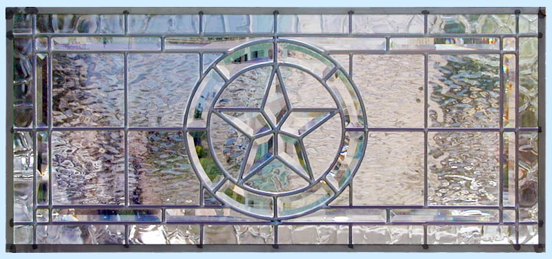 Texas Star horizontal leaded glass custom beveled transom window