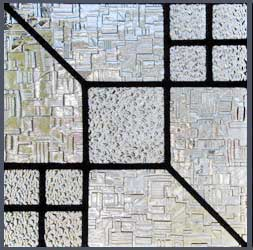 leaded glass abstract window of different textured glass custom glass design window