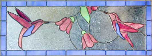 2 Hummingbirds Leaded Stained Glass Window