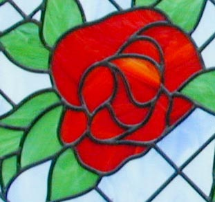 4 roses custom stained and leaded glass sidelight window