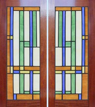 stained and leaded glass abstract cabinet door windows.