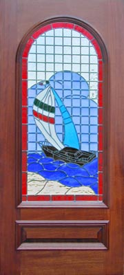 Sailboat stained and leaded glass window