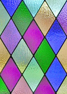 Colored diamonds stained and leaded glass window