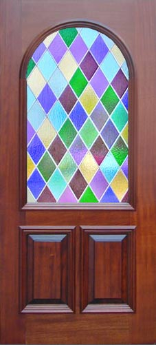 VIEW colored diamonds stained and leaded glass window