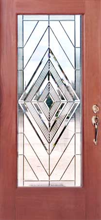 Custom leaded glass bevel door