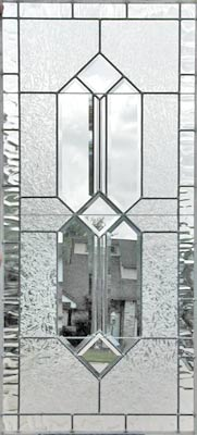 Custom leaded glass window with clear double house bevels
