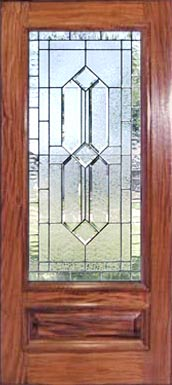 mahogany door with leaded bevel glass window with gluechip bevels