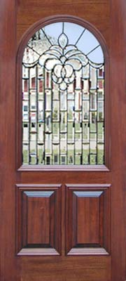 mahogany arched door with leaded glass bevel window