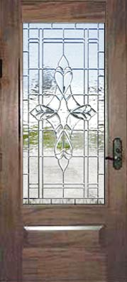JS21 leaded glass bevel window in mahogany door