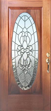 leaded glass oval door