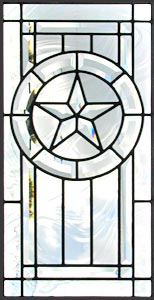 Texas star leaded glass bevel window