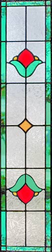 Victorian style stained and leaded glass tulip window