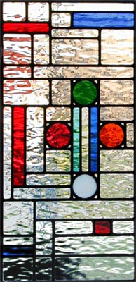 stained and leaded glass abstract window.