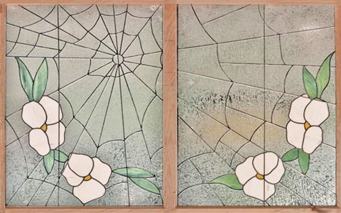 Leaded Stained Glass spiderweb window