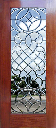 mahogany door with leaded glass all-beveled door window.