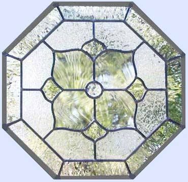 Custom leaded glass octagon window with clear textured glasses