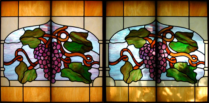 stained and leaded glass grapes window