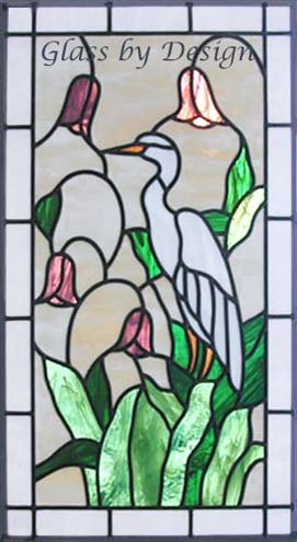 Custom stained and leaded glass egret window