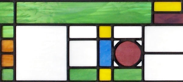 Closeup of FLWBIG1 custom stained and leaded glass window Frank Lloyd Wright inspired