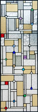 Frank Lloyd Wright inspired custom stained and leaded glass window