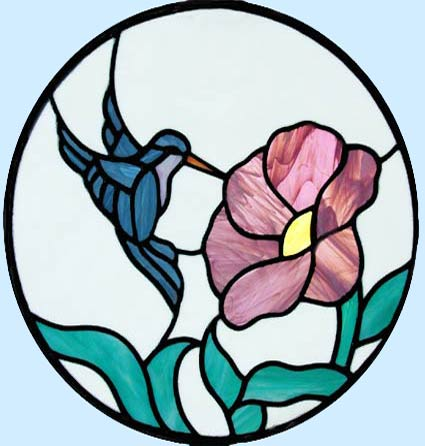 Hummingbird with Flower circular stained glass window