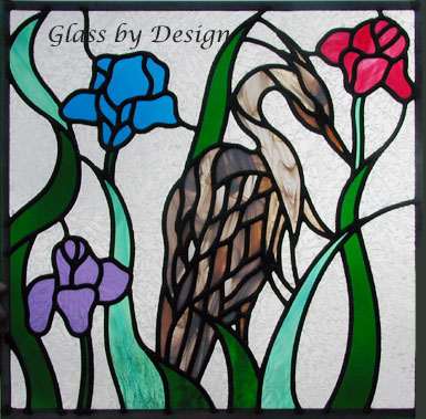 Blue heron leaded stained glass window custom glass design
