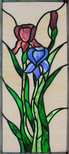 irises stained and leaded glass window