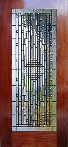 Custom leaded glass pencil bevel door window