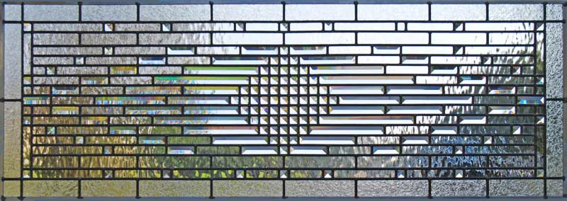 Custom leaded glass abstract pencil bevel transom window