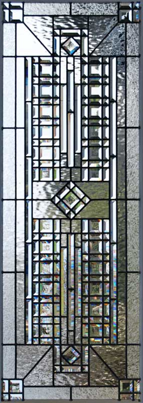 Custom abstract leaded glass pencil bevel window