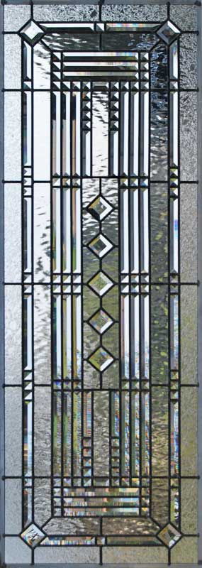 Custom abstract leaded glass pencil bevels window