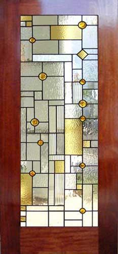 Custom abstract stained and leaded glass window inspired by frank lloyd wright