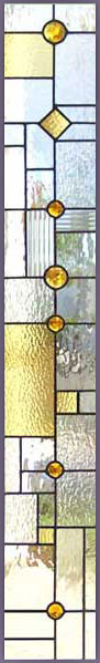 Custom abstract stained and leaded glass sidelight window inspired by frank lloyd wright