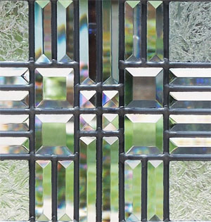 leaded glass transom window of clear textured glass custom glass design