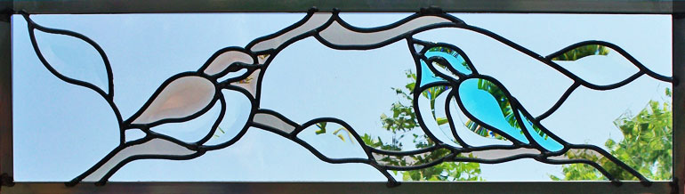 2 Songbirds leaded stained glass window