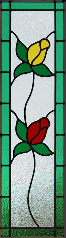 Custom stained and leaded glass rosebuds cabinet doors