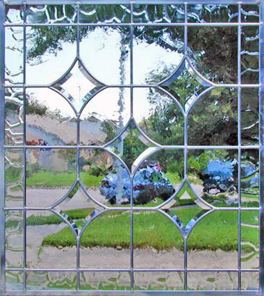 Custom beveled stars leaded glass window