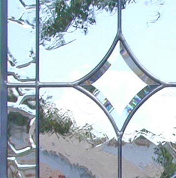 BACK to 5 STARS V leaded glass beveled window