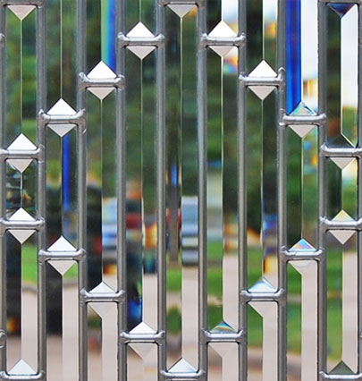 Closeup of pencil bevels leaded glass window