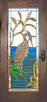Custom stained and leaded glass great blue heron door