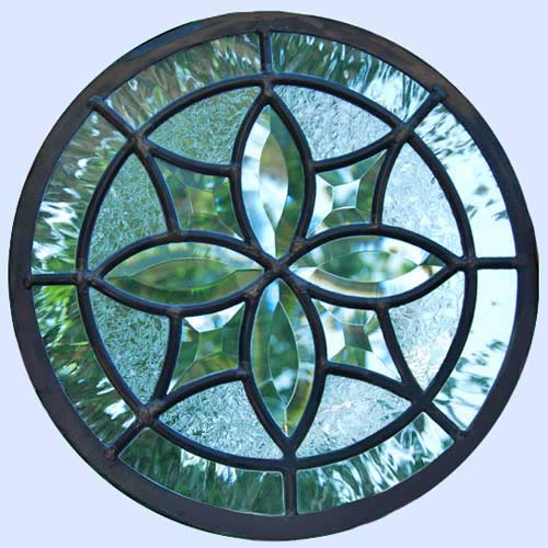 leaded glass bevel circle window