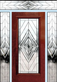 Custom D100NENT entry with contemporary leaded glass windows