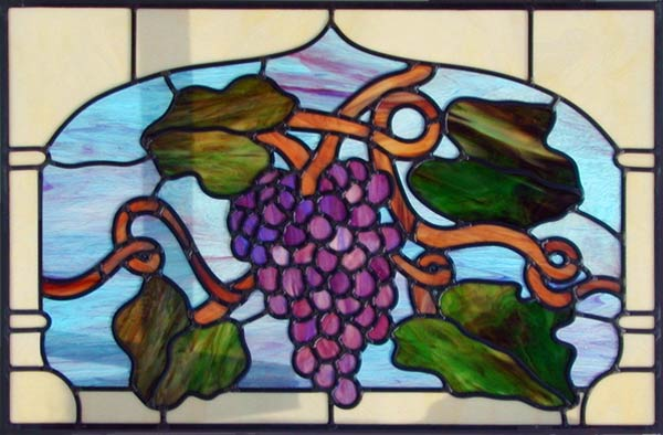 Grapes stained and leaded window custom glass design
