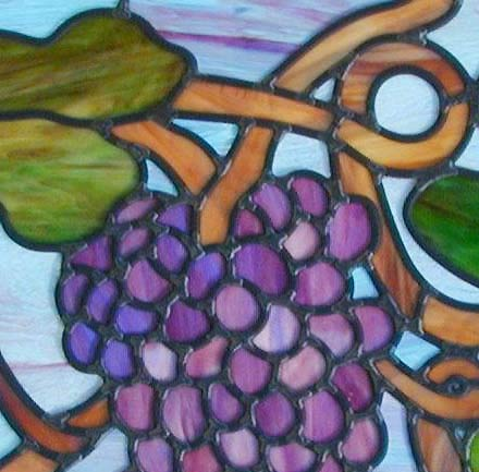Stained and leaded glass Grapes window custom glass design