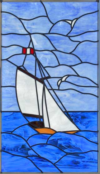 stained and leaded glass sailboat