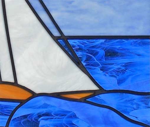 stained and leaded glass sailboat window custom glass design