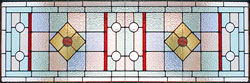 Custom art deco inspired stained and leaded glass oval abstract window
